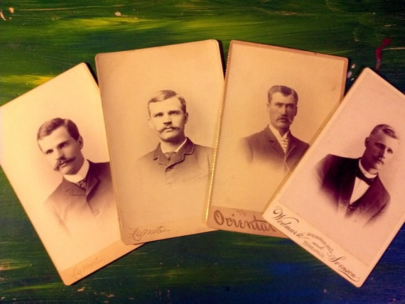 REDUCED PRICE Lot of Four Antique Cabinet Cards Men with Mustaches 1800's Atlanta Minneapolis Oriental