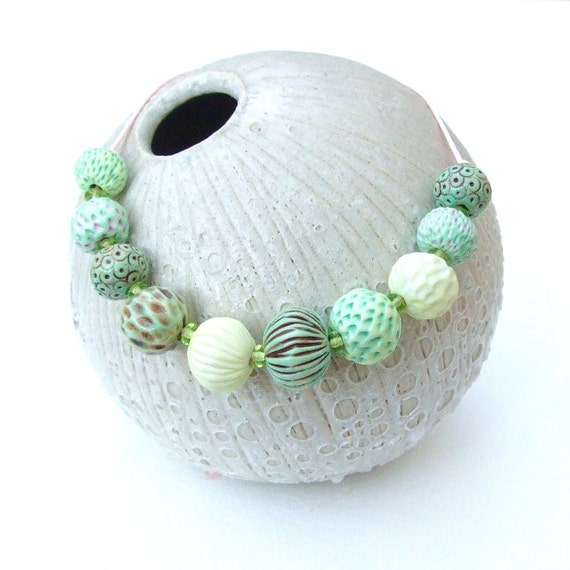 Handmade Porcelain Beads - Spring Seed Heads - Ten Beads - by seapods