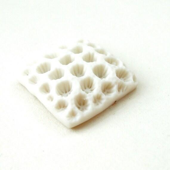 SALE - Porcelain Cabochon - Pure White - Coral Square no.2