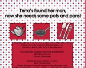 Kitchen Theme Bridal Shower Invitation and Recipe Card (set)