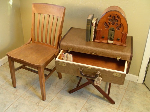 Suitcase table with drawer, vintage end table, nightstand, storage