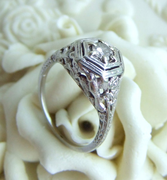 RESERVED Antique Art Deco Diamond Filigree Engagement Ring with Love Birds and Flowers