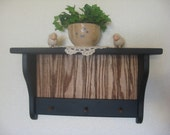 Primitive Country Shelf  Black w/pegs and stained bead board
