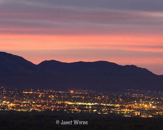 Duke City Dusk, fine art photograph, Albuquerque city lights