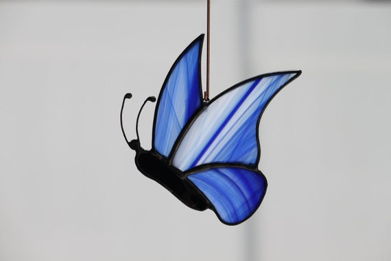 Stained Glass Butterfly, Blue, Sun Catcher, Ornament. (No 7)