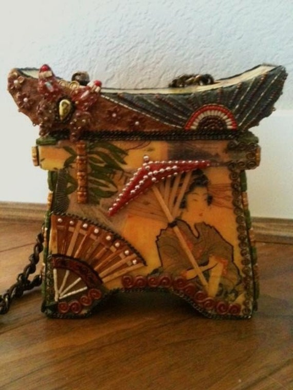 Vintage Asian Geisha Decoupage Collage Bag with Pearls, Beads, and Brass Chain