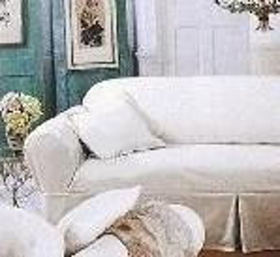 Vintage White Denim Cottage Style Loveseat Slipcover, Romantic Home - Olives and Doves