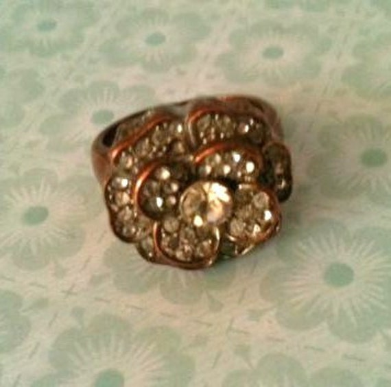 Vintage Flower Blossom Rhinestone and Copper Ring - Olives and Doves