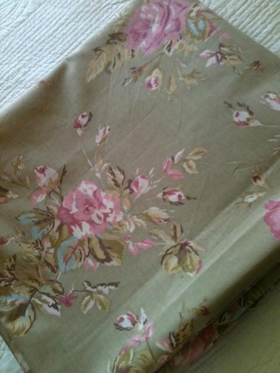 Vintage Shabby Chic Rose Cafe au Lait Curtain Panels, Set of Two, Romantic Home - Olives and Doves