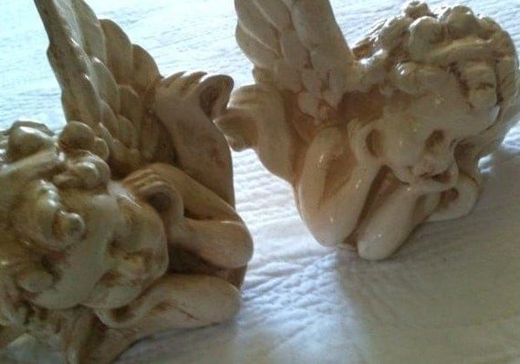 Vintage Romantic Homes Cherub Curtain Tiebacks Shabby Chic Pearl White Angels, Set of Two - Olives and Doves