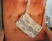 Plarn Crochet Purse -- Upcycled/Recycled from plastic bags -- Brown, Tan and Cream