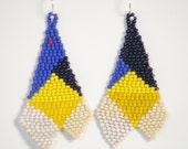 Sharkbite red mOOn Pyramid geometric earrings