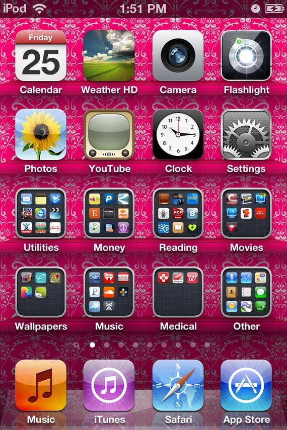 iPod Touch iPhone Pink and White Patterned App Shelf Wallpaper 4 Set