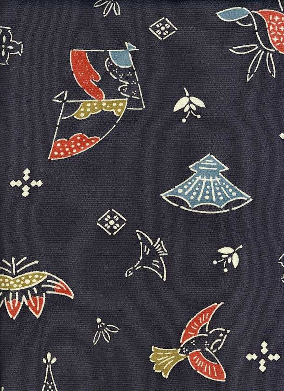 "Stencilled Smokey Blue Recycled Vintage Silk Kimono Fabric -- 14"" x 62"""