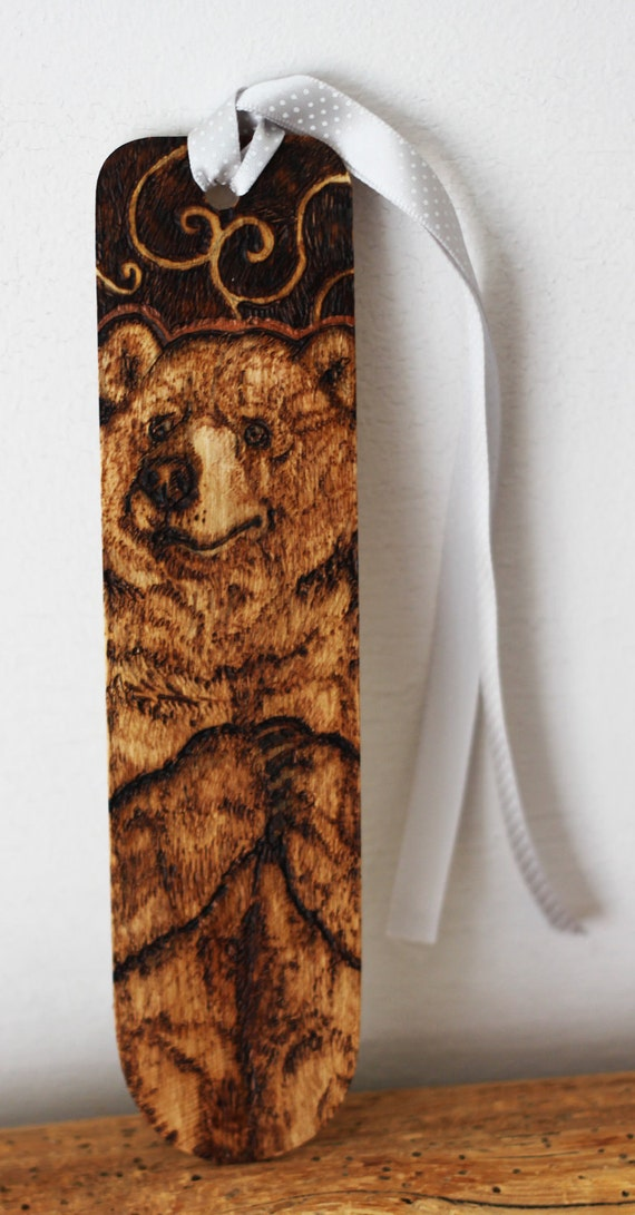 Pyrography - Grizzly Bear bookmark