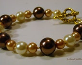 Glass Pearl Bracelet in Chocolate, Light Gold, & Ivory Glass Pearls, Single Strand