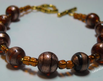 Brown Glass Bracelet with Gold Sparkle Accents