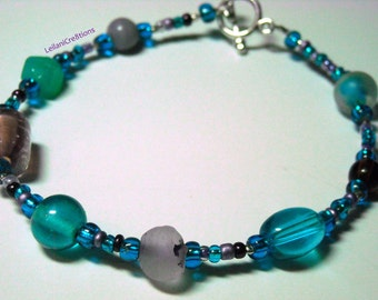 Peacock Blue Bracelet, Aqua, Plum, Amethyst, Grape Glass