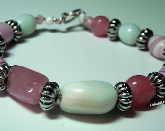 Rosy Pink Bracelet with White & Swirled Glass Beads and silver tone accents