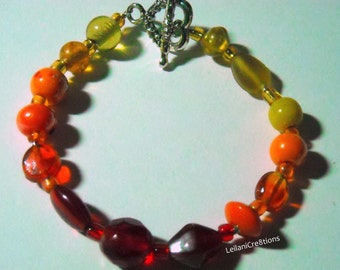 Warm Color Bracelet: Red, Orange, & Yellow Glass Beads