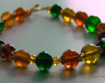 Brown, Amber, and Green Glass Bead Bracelet
