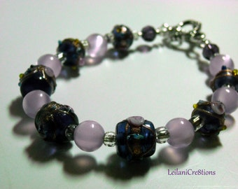 Purple Glass Bracelet with lavender glass beads, single strand bracelet
