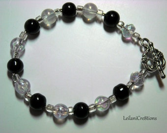 Black & Sparkly Transparent Glass Bead Bracelet