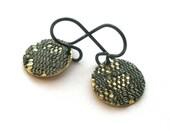 Fabric Earrings, Black Lace, Disc Brass Earrings, Flower Earrings