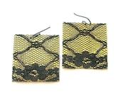 Black Lace Square Brass Earrings, Flower Earrings