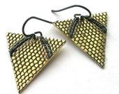 Brass Earrings, Lace Earrings, Triangle Earrings, Resin Earrings