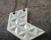 handmade ceramic chevron necklace, pale turquoise, geometric design
