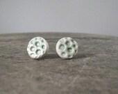 handmade ceramic earrings, lunar craters, pale green