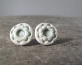 handmade ceramic earrings, floral pattern, pale green and bone