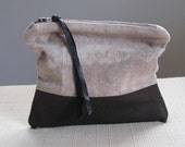 cotton and leather clutch, hand-dyed, upcycled leather, sand and brown