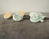four handmade ceramic hair clips, green, mustard