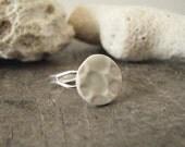 handmade ceramic ring, geometric design, full moon, lunar craters