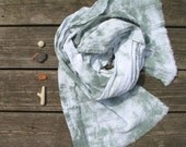 tie-dyed cotton scarf, green and white