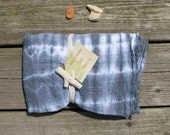 tie-dyed scarf, storm blue on white