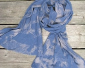 reverse-dyed cotton scarf, slate blue and pale mauve taupe