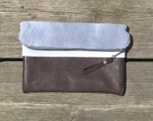 hand-dyed clutch, cotton and reclaimed leather, fold-over clutch