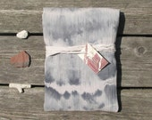 hand-dyed scarf, lightweight cotton, grey-blue and sand