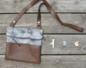 hand-dyed linen and leather bag, cross-over and clutch, detachable strap