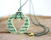 Green Heart Porcelain Pendant Necklace with Vintage Writing READY TO SHIP