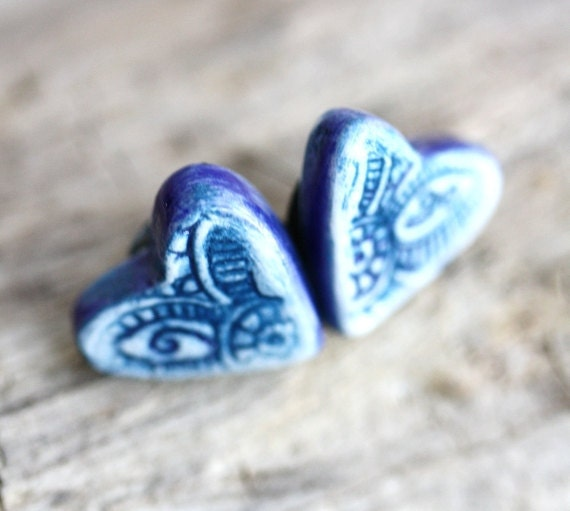 BlueHeart Earrings Porcelain Studs in Cobalt and White READY TO SHIP