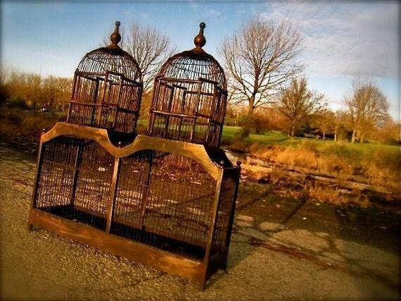 VINTAGE Victorian Birdcage, Antique Birdcages, Wooden / Wood Bird cages, Wedding Card Box