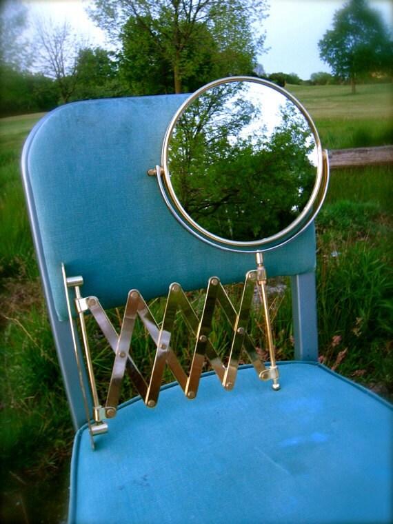 Vintage, BRASS WALL MIRROR, Round, Industrial, Retractable, Accordion, Scissors Style, Mid Century, Bathroom, Shaving, 2-in-1, Close-up