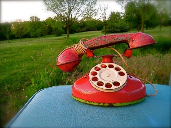 Red TOY TELEPHONE, Toys, Metal Toy Phone, Children's Play Phone, Children's Room Decor, Antique Toy, Collectible Toys, Vintage Toys
