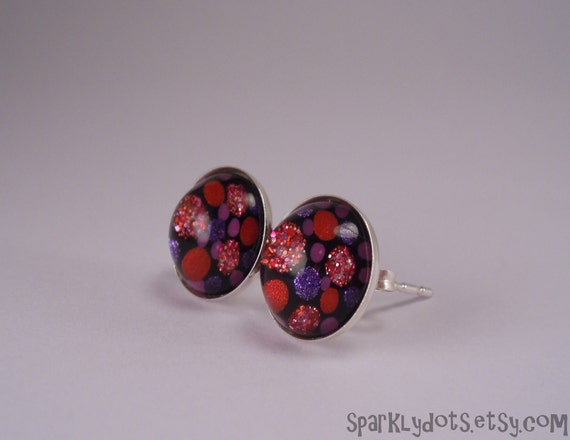 925 Sterling Silver stud earrings hand painted with nail polish 10mm D-056