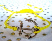 Nautical Bracelet, Anchor Bracelet, Nautical Anchor Bracelet, Hemp Bracelet, Yellow Hemp Bracelet