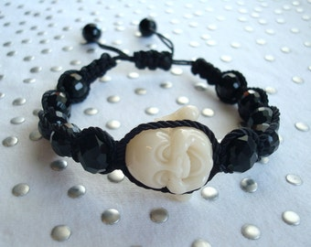 Ivory Buddha Black Beaded Bracelet